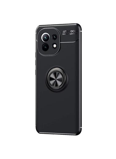 Microsonic Microsonic Xiaomi Mi 11 Kılıf Kickstand Yüzük Halkası Siyah